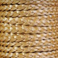 Braided 5mm FLAT Leather Cord - Metallic Gold - per inch