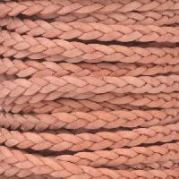 Braided 5mm FLAT Leather Cord - Natural Pink - per inch
