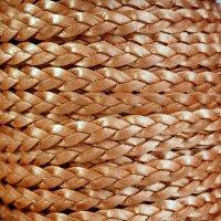 Braided 5mm FLAT Leather Cord - Metallic Copper
