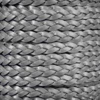 Braided 5mm FLAT Leather Cord - Metallic Gray