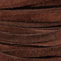 Suede 5mm Flat Cord - Brown - per inch