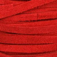 Suede 5mm Flat Cord - Red - per inch