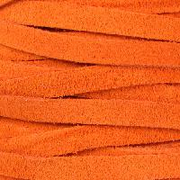 Suede 5mm Flat Cord - Orange - per inch
