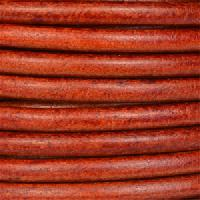 Euro 5mm Round Leather Cord - Red Whiskey - per inch