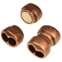 5mm Double Round Leather Cord Magnetic Clasp - Antique Copper
