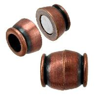 5mm Small Barrel Round Leather Cord Magnetic Clasp - Antique Copper