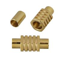 5mm Round Leather STAINLESS STEEL magnetic clasp five nut - GOLD