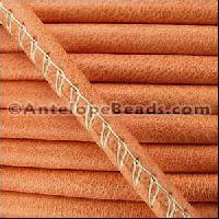 Arizona 5mm ROUND Stitched Leather Cord - Burnt Orange