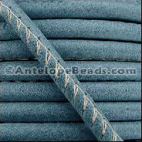 Arizona 5mm ROUND Stitched Leather Cord - Faded Denim