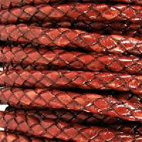 Braided 5mm ROUND Leather Cord - Red Whiskey