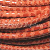 Cancun 5mm ROUND Leather Cord - Tangerine - per inch
