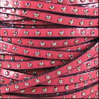Studded 5mm Flat Leather Cord - Pink
