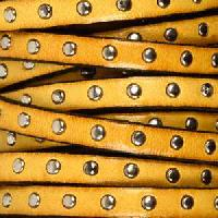 Studded 5mm Flat Leather Cord - Ochre