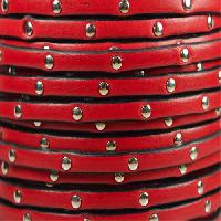 Studded 5mm Flat Leather Cord - Red