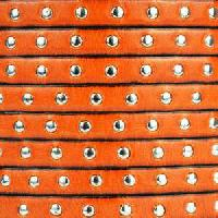 Studded 5mm Flat Leather Cord - Orange