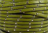 Studded 5mm Flat Leather Cord - Olive Green