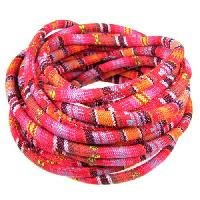 Cotton 6mm ROUND Cord - Pink / Red - per inch