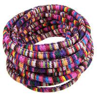 Cotton 6mm ROUND Cord - Purple Stripe - per inch