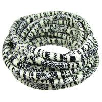 Cotton 6mm ROUND Cord - Black / Cream - per inch