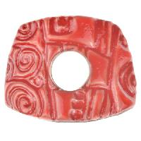 Urban Raku Bracelet Bar Asymmetrical - Coral Red