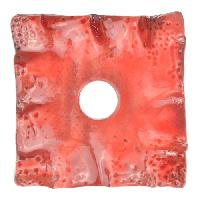Urban Raku Pendant Square Ruffled 2 inch - Coral Red