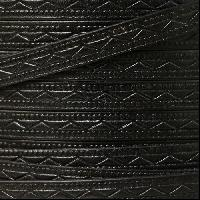 Roman 8mm Embossed Flat Leather Cord - Black