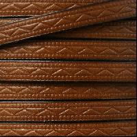 Roman 8mm Embossed Flat Leather Cord - Medium Brown