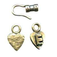 B&B Benbassat 1.5mm Heart Hook & Eye Clasp - Antique Brass (2pcs)