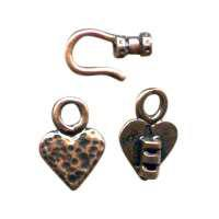B&B Benbassat 1.5mm Heart Hook & Eye Clasp - Antique Copper (2pcs)