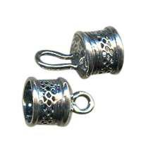 B&B Benbassat 10mm Mesh Large Hole Hook and Eye End Cap - Antique Silver (2pcs)