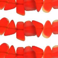 Cultured Sea Glass Bead Pebble 15x10mm - Cherry Red