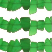 Cultured Sea Glass Bead Pebble 15x10mm - Shamrock