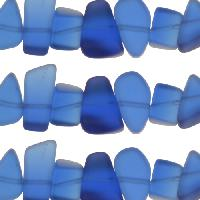 Cultured Sea Glass Bead Pebble 15x10mm - Royal Blue