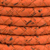 Portuguese Braided 10mm ROUND Cork Cord - Orange