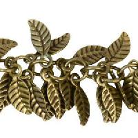 Leaf Chain with 4x6mm Leaves (1/2 ft) - Antique Brass - per HALF foot