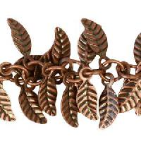 Leaf Chain with 4x6mm Leaves (1/2 ft) - Antique Copper - per HALF foot