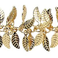 Leaf Chain with 4x6mm Leaves (1/2 ft) - Matte Gold - per HALF foot