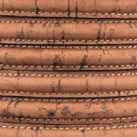 Mini Regaliz Portuguese Cork Stitched 10mm Oval Cord - Saddle Brown