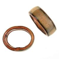 C-Koop Copper Enamel Slider Oval Large Hole 6mm - Clear Gold