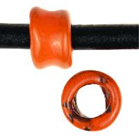 C-Koop Copper Enamel Bead Squish 5mm Hole - Pumpkin