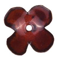 C-Koop Copper Enamel Rivetable / Stackable Flower Petal 4 Round 22mm - Ruby
