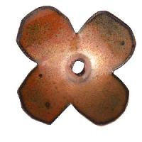 C-Koop Copper Enamel Rivetable / Stackable Flower Petal 4 Round 22mm - Clear Gold