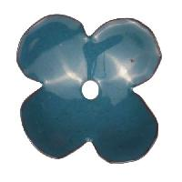 C-Koop Copper Enamel Rivetable / Stackable Flower Petal 4 Round 22mm - Peacock