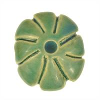 Claycult 23mm Medium Flower Ceramic Bead - Egyptian Green
