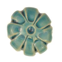 Claycult 23mm Medium Flower Ceramic Bead - Egyptian Blue