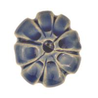 Claycult 23mm Medium Flower Ceramic Bead - Italian Blue