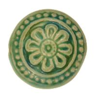 Claycult 25mm Flower Ceramic Disc - Egyptian Green