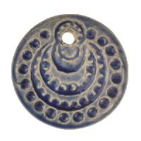 Claycult 26mm Circles Flat Round Ceramic Disc - Italian Blue