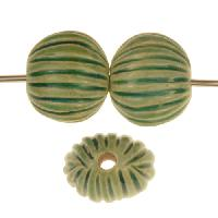Claycult 13mm Small Incised Pillow Ceramic Bead - Egyptian Green