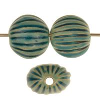 Claycult 13mm Small Incised Pillow Ceramic Bead - Egyptian Blue